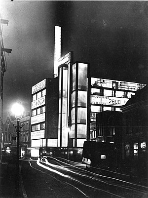 Architecture of the night - De Volharding Building, The Hague, 1928 by Jan Buijs, photographed in 1930