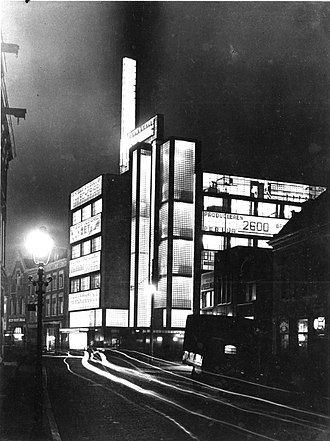 Jan Buijs - De Volharding Building at night, 1930