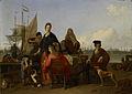 De families Bakhuysen en de Hooghe aan de maaltijd op de Mosselsteiger aan het IJ te Amsterdam. Rijksmuseum SK-A-2198.jpeg