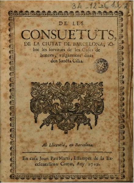 File:De les consuetuts de la ciutat de Barcelona sobre las servituts de las casas de honors (1709).djvu