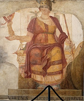 "Venus (mythology) - Fresco with a seated Venus, restored as a personification of Rome in the so-called ""Dea Barberini"" (""Barberini goddess""); Roman artwork, dated first half of the 4th century AD, from a room near the Baptistery of San Giovanni in Laterano"