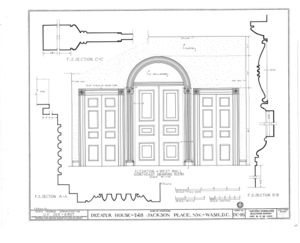 Decatur House, National Trust for Historic Preservation, 748 Jackson Place Northwest, Washington, District of Columbia, DC HABS DC,WASH,28- (sheet 16 of 23).png
