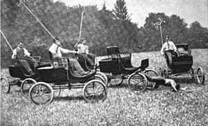 Auto polo - The Dedham Polo Club first used Mobile Runabouts for their exhibition game in 1902.