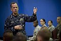 Defense.gov News Photo 100721-N-0696M-111 - Chairman of the Joint Chiefs of Staff Adm. Mike Mullen U.S. Navy answers questions during an all hands call with soldiers assigned to the 2nd.jpg