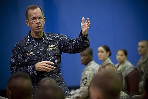 Camp Red Cloud - Chairman of the Joint Chiefs of Staff Adm. Mike Mullen, U.S. Navy, answers questions during an all hands call with soldiers assigned to the 2nd Infantry Division stationed at U.S. Army Garrison Red Cloud, Republic of Korea on July 21, 2010