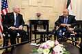 Defense.gov News Photo 110325-D-XH843-004 - Secretary of Defense Robert M. Gates meets with Palestinian Prime Minister Salaam Fayyed in his office in Ramallah, West Bank, on March 25, 2011.jpg
