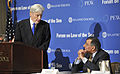 Defense.gov News Photo 120509-D-NI589-185 - Former Sen. John Warner left introduces Secretary of Defense Leon E. Panetta at the Forum on the Law of the Sea Convention held at the Willard.jpg