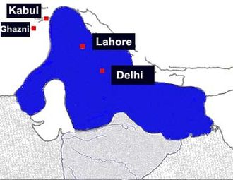 Iltutmish - Extent of Delhi Sultanate under Iltutmish; The Sultanate clearly expanded under Shams ud-din into Bengal, the outskirts of Tibet and south to the Gangentic plains.