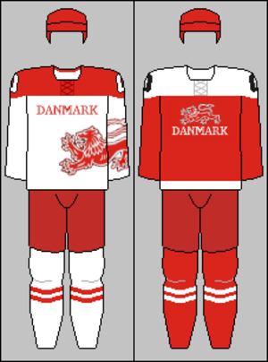 Denmark men's national ice hockey team - Image: Denmark national hockey team jerseys