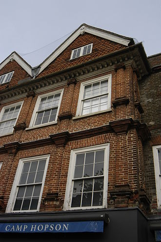 Newbury, Berkshire - Part of the facade of Camp Hopson of Newbury, dating from  1663 with classical brick pilasters, in 2014.