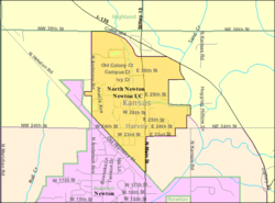 Detailed map of North Newton, Kansas