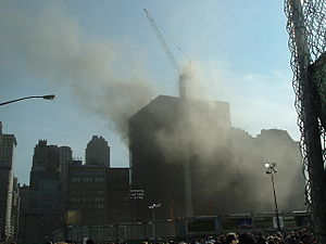 Deutsche Bank Building - View of the building during the fire of August 18, 2007