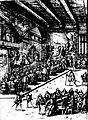 Diederich Graminaeus (1550-1610). Beschreibung derer Fürstlicher Güligscher ec. Hochzeit (Johann Wilhelm von Jülich-Kleve-Berg ∞ Jakobe von Baden-Baden, Hochzeit in Düsseldorf im Jahre 1585), Köln 1587 Nr. 12, Ausschnitt (Hälfte, links).JPG