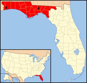Roman Catholic Diocese of Pensacola–Tallahassee - Image: Diocese of Pensacola Tallahassee map 1
