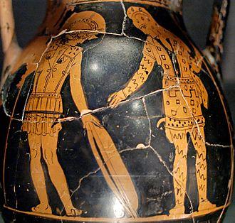 Glaucus (soldier) - Glaucos and Diomedes Exchange Armour pélikè attique du Peintre de Hasselmann, v.  420 av. J.-C.