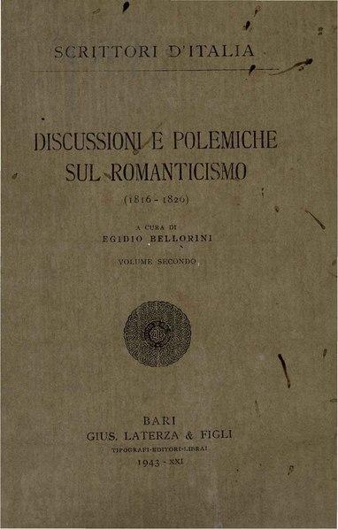 File:Discussioni e polemiche sul Romanticismo, Vol. II, 1943 – BEIC 1813091.pdf