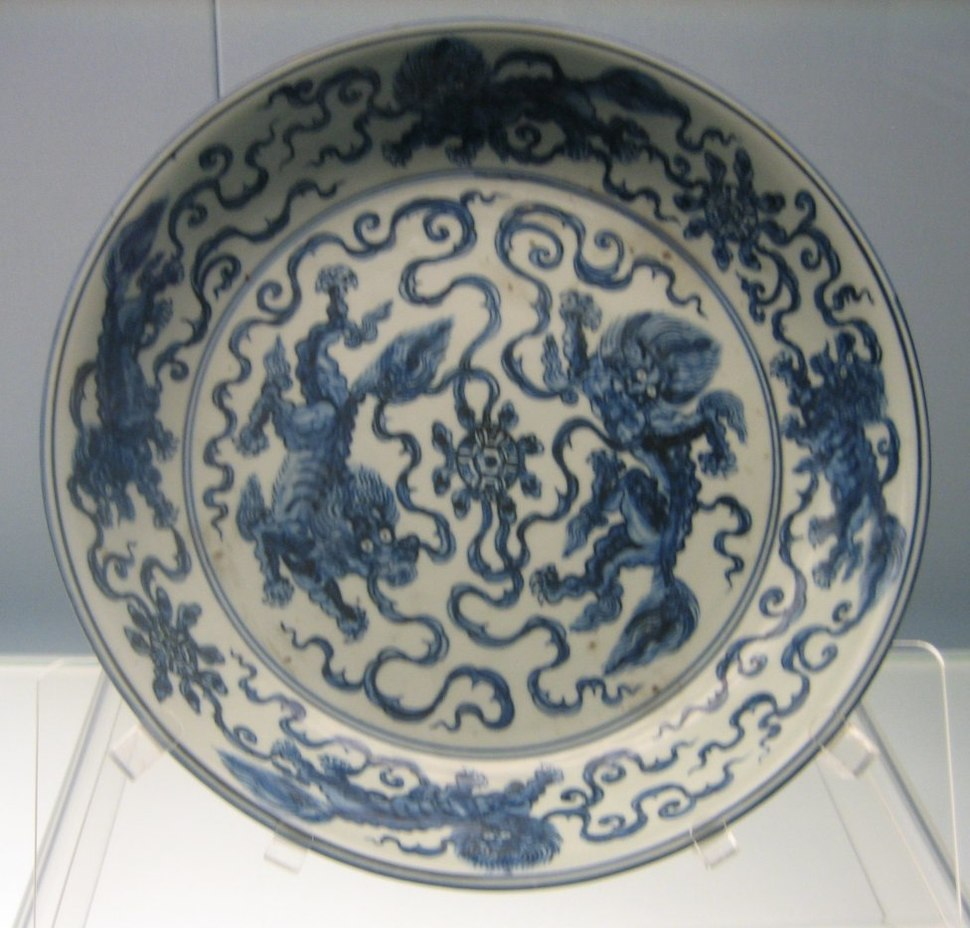 Dish with underglazed blue design of 2 lions playing a ball, Jingdezhen ware, mid 15th century, Shanghai Museum