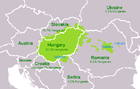 Regions in Europe where the Hungarian language is spoken.