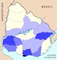 Distribución por departamentos de la organización de las carreras de ciclismo en Uruguay 2014-2015.png