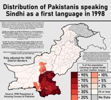 Распространение пакистанцев, говорящих на синдхи в качестве первого языка в 1998.png