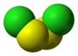 Spacefill model of disulfur dichloride