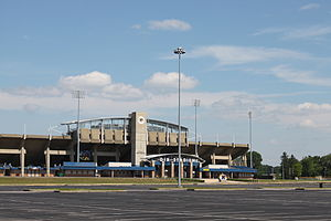 Dix Stadium - A new high-definition scoreboard and entryways were part of the 2008 renovations