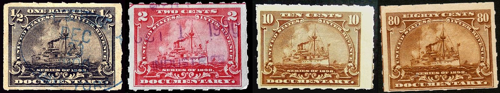 Selection Of US Documentary Revenue Stamps 1898Stamps Depict The Image USS Maine