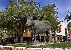 Longhorn Statute on Front Street, Dodge City, ...