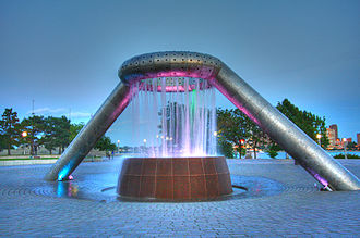 Philip A. Hart Plaza - View of the Horace E. Dodge and Son Memorial Fountain from the front in the evening