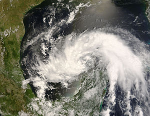 Hurricane Dolly (2008) - Tropical Storm Dolly in the Gulf of Mexico just after crossing the Yucatan Peninsula