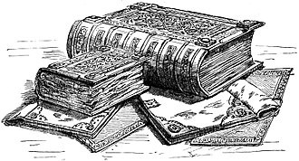 "Domesday Book - Domesday Book: an engraving published in 1900. Great Domesday (the larger volume) and Little Domesday (the smaller volume), in their 1869 bindings, lying on their older ""Tudor"" bindings."
