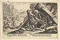 Drunkenness of Noah- Shem and Japheth cover the naked body of Noah, who lies in a tent, a male figure at far right points to Noah, from a series of engravings made for the first edition of the 'Liber Genesis' MET DP828364.jpg