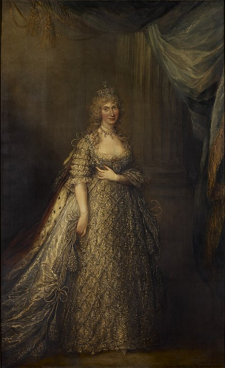 Portrait by Gainsborough Dupont, c. 1795 Dupont - Caroline of Brunswick, Princess of Wales.jpg