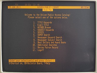 Online public access catalog - Screenshot of a Dynix menu. First introduced in 1983, Dynix was one of the first and most popular commercial library automation systems ever released, enjoying nearly twenty years of dominance in libraries worldwide.