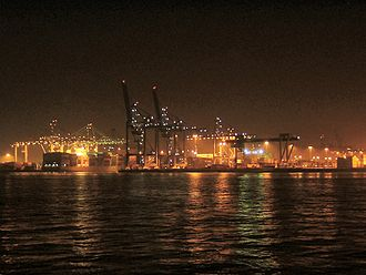 Port of Rotterdam - The Waalhaven by night.