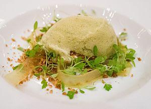 Foam (culinary) - A dish topped with culinary foam prepared from skyr