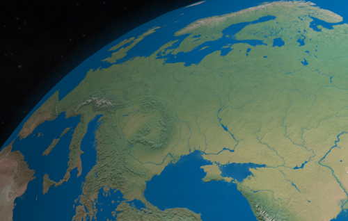 Computer rendering of Eastern Europe Eastern Europe from space.png