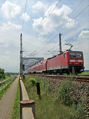 Magdeburg-Wittenberge railway - Regionalbahn train crossing the Elbe bridge at Wittenberge