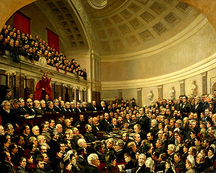 Garfield (second from right in the row of commissioners just below the gallery) served on the Electoral Commission that decided the disputed 1876 presidential election. (Painting by Cornelia Adele Strong Fassett) Electoral Commission (United States).jpg