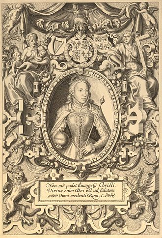 Bishops' Bible - In this edition, Elizabeth is flanked by allegorical virtues of Faith and Charity. Elizabeth therefore represents Hope.Beneath the portrait is a Latin text from Romans 1:16