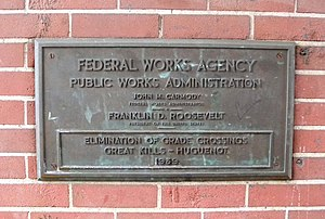 Federal Works Agency - 1939 FWA/WPA plaque celebrating the Staten Island Rapid Transit (New York City) grade-elimination project completion.