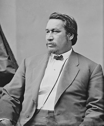 Ely Samuel Parker Grant appointed Parker the first Native American (Seneca) Commissioner of Indian Affairs. Brady circa unknown Ely S. Parker.jpg