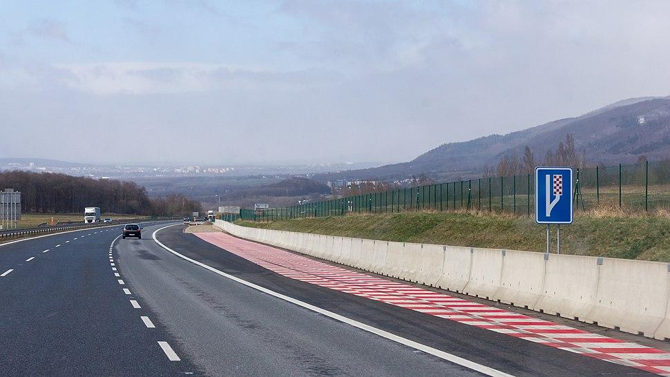 Emergency stopping lane on D8 near Petrovice, Czech Republic-6309