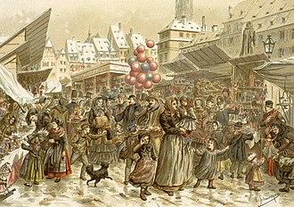 Christkindelsmärik, Strasbourg - Image: Emile Schweitzer Foire de Noël sur la place Kléber en 1859