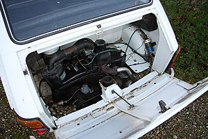 Engine compartment of a white left hand drive Fiat 126 produced in 1973.jpg
