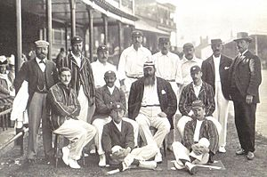 J. T. Hearne - England team v. Australia, Trent Bridge 1899. Back row: Dick Barlow (umpire), Tom Hayward, George Hirst, Billy Gunn, J T Hearne (12th man), Bill Storer (wkt kpr), Bill Brockwell, V A Titchmarsh (umpire). Middle row: C B Fry, K S Ranjitsinhji, W G Grace (captain), Stanley Jackson. Front row: Wilfred Rhodes, Johnny Tyldesley.