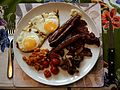 English breakfast - bacon, egg, sausage, beans, mushrooms and tomatoes.jpg