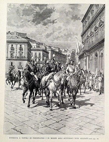 Rientro in napoli di ferdinando i nel 1821 scortato dalle for Nuovo parlamento siciliano