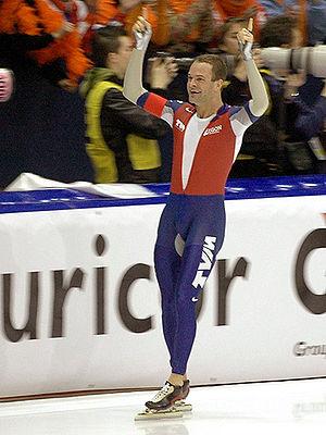 2007 World Allround Speed Skating Championships - Distance winner Erben Wennemars smiling after the race.
