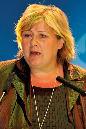 Norwegian parliamentary election, 2009 - Image: Erna Solberg EPP Congress Warsaw